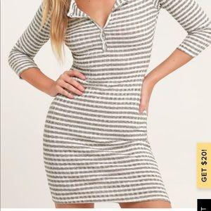 Olive green striped ribbed 3-quarter sleeve dress